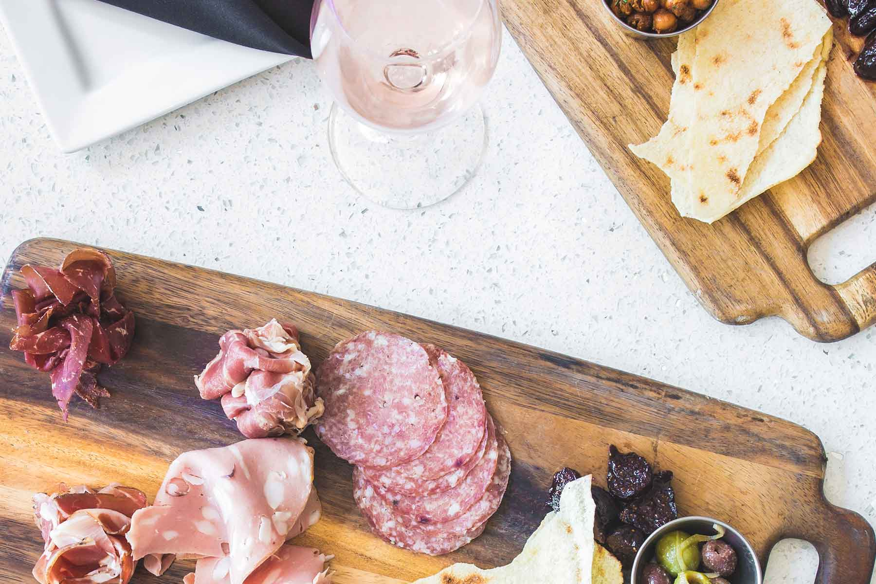 Wine on High charcuterie board