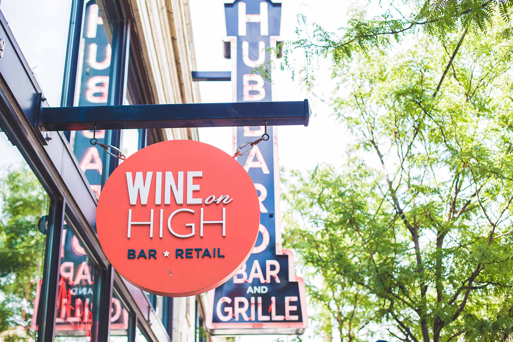 Wine on High exterior sign