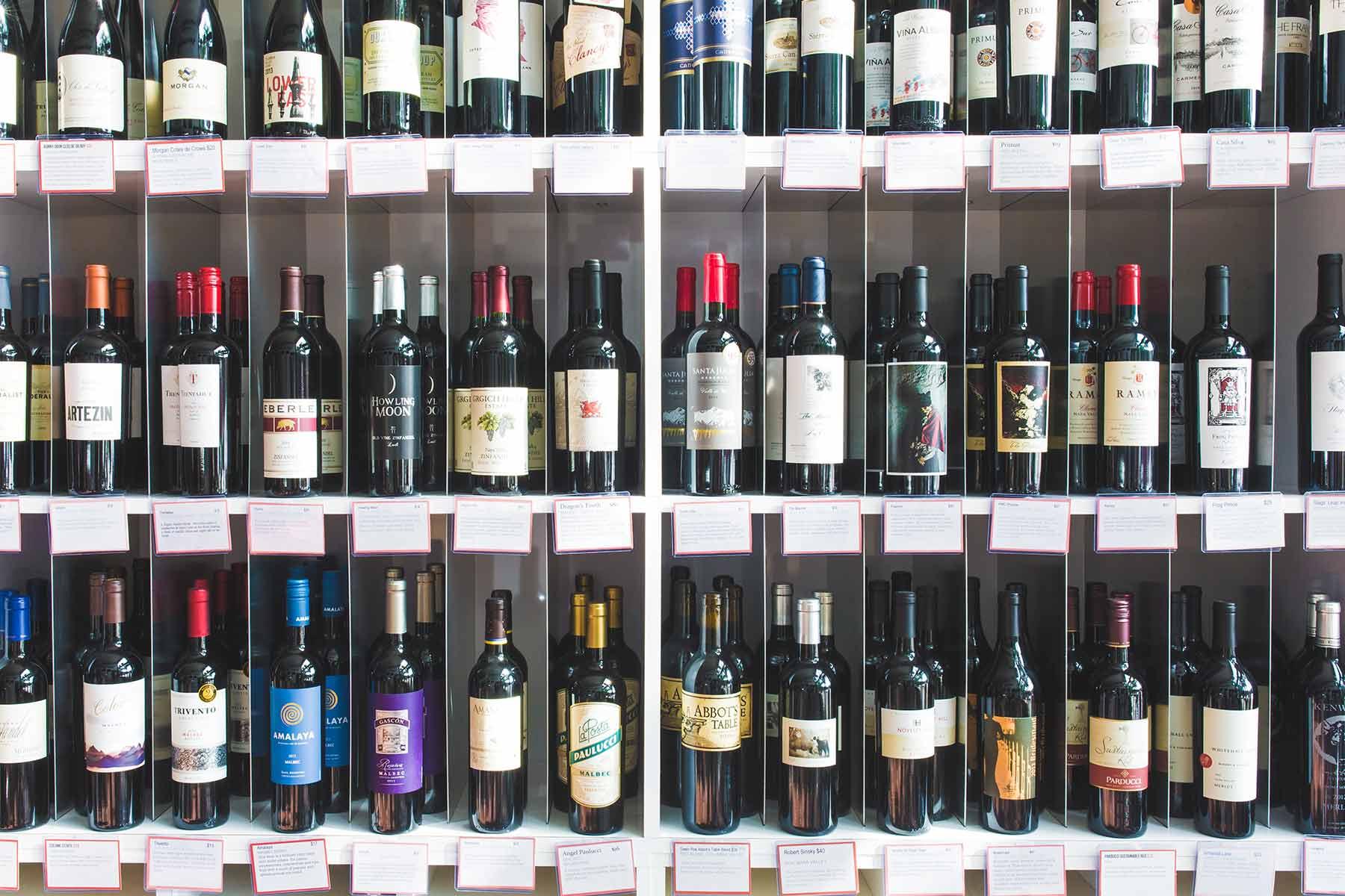 Wine on High wine bottles on shelf